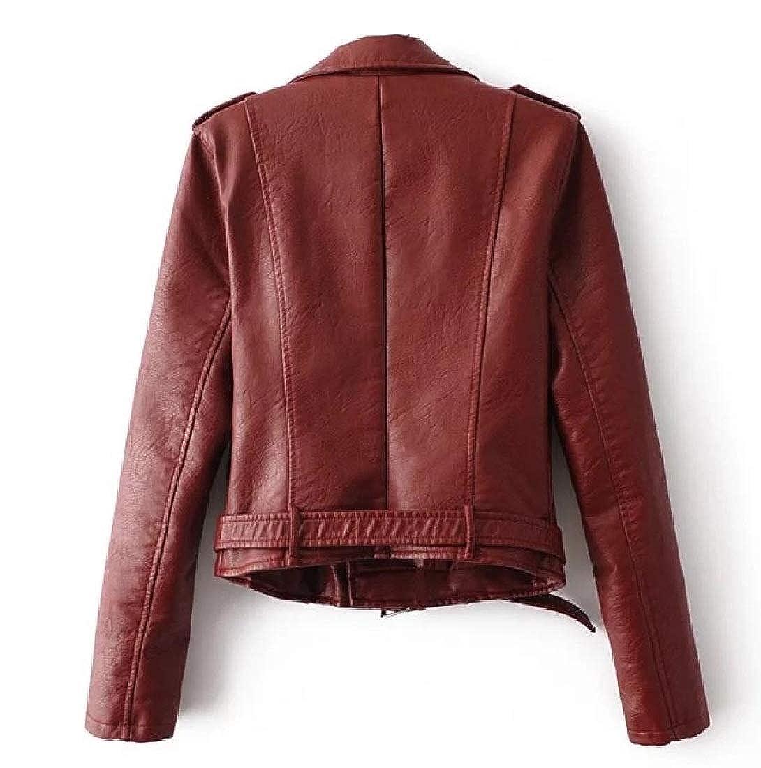 YUNY Women Outwear Coat Faux Leather Motorcycle Cool Cozy PU Jakcet Wine red XS