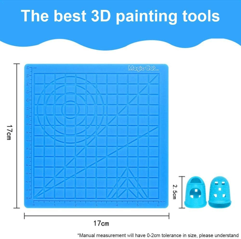 Multi-Shaped Art Craft 3D Printing Pen Zeichenvorlage Zeichenwerkzeuge Mit 2 Fingerschutz 3D Printing Pen Silikonmatte
