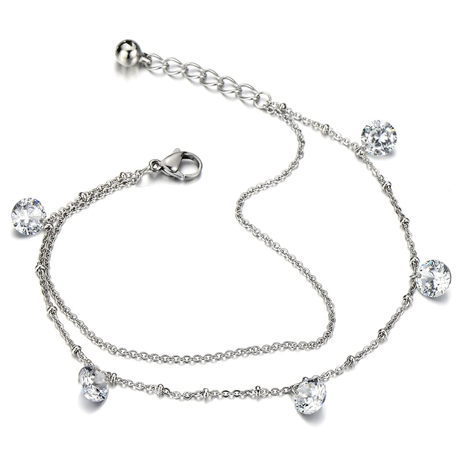 bracelet carats zirconia ankle anklet cz silver sterling chain key cubic ice lock pin beach