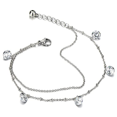 COOLSTEELANDBEYOND Stainless Steel Anklet Bracelet with Dangling Charms of Dolphins and Beads wT42Yvr