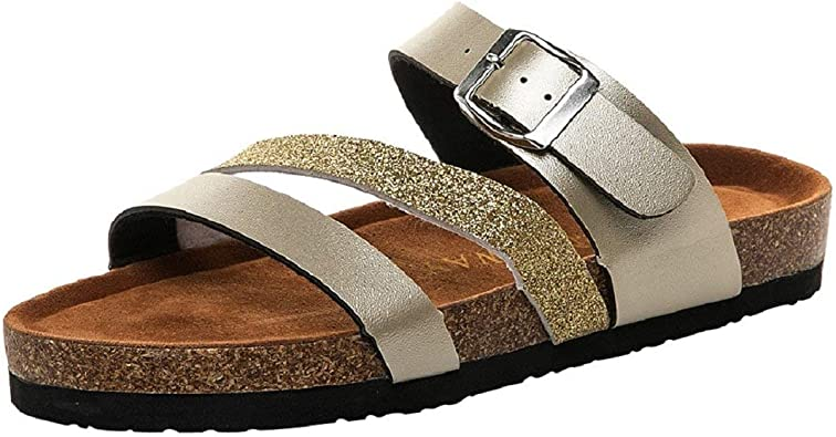Women Sparkle Glitter Footbed Sandals