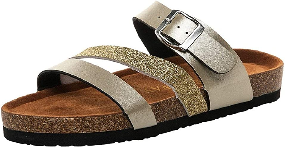 Ladies Flat Sandals Womens Slip On Toe Post Buckle Shimmer Shoes Fashion Party