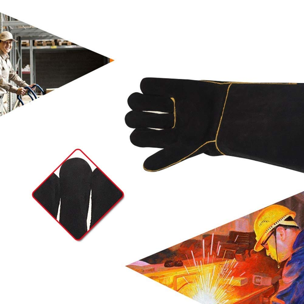 IRVING Outdoor welding leather gloves household barbecue BBQ microwave oven insulation gloves anti-scalding high temperature protective gloves by IRVING (Image #5)