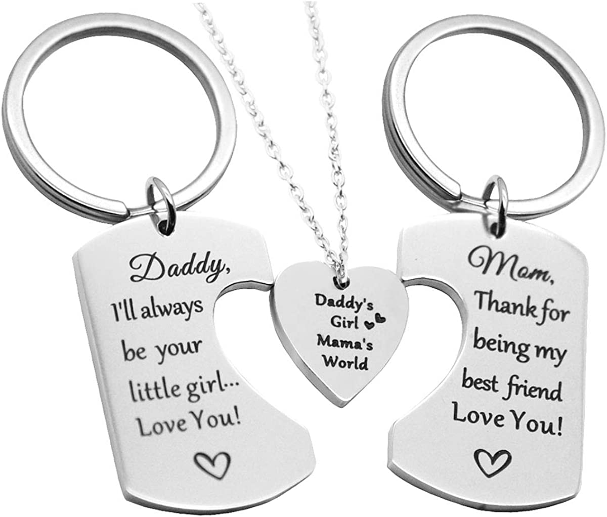 Gold Metal Keychain Key Ring Pendant with Lettering Best Gift for Mom for Expressing Love and Thanksgiving- Stainless Steel Mom i Love You