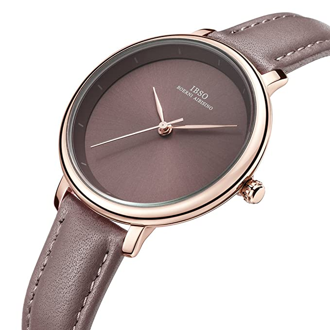 Amazon.com: Women Simple Face Watches Leather Band Luxury Quartz Watches Girls Ladies Wristwatch Reloj De Mujer (Brown): Watches