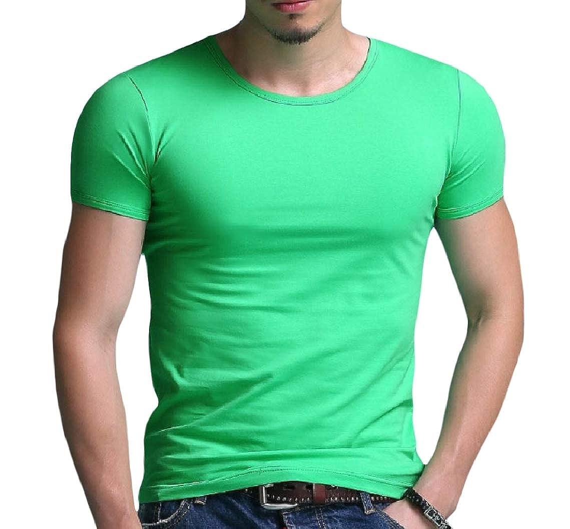 Mfasica Mens Crewneck Oversized Short Sleeve Trim-Fit Cotton Pure Color Tees
