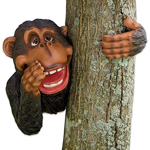 Bits and Pieces - Monkey Tree Hugger - Garden Peeker Yard Art - Outdoor Tree Hugger Sculpture Garden - Monkey Painted