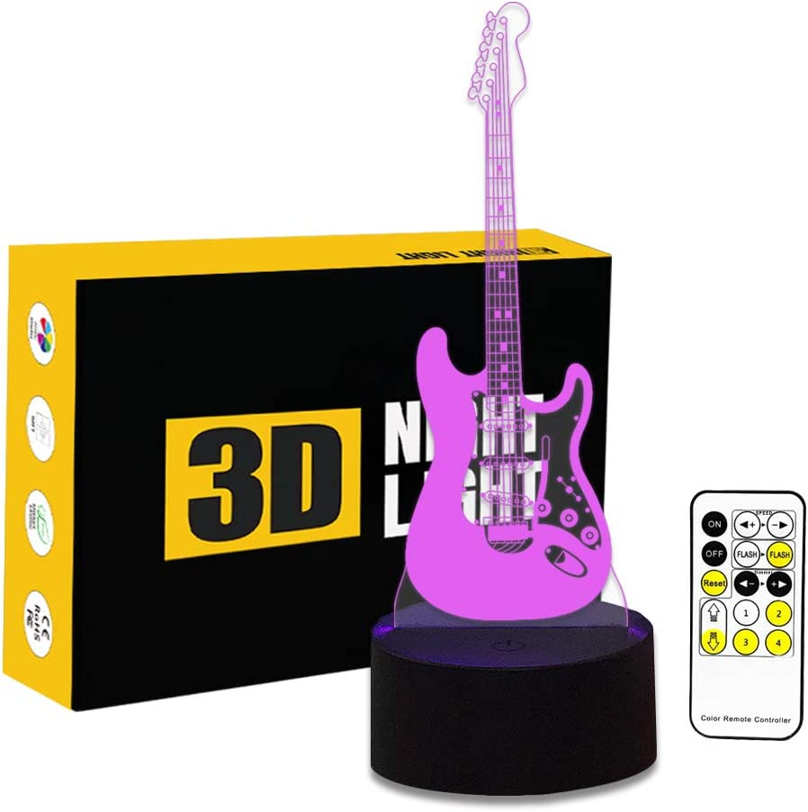 Cirkooh Electric Guitar 3D Optical Illusion Lamp 7 Colors Change Remote Control and Touch Button LED Night Light Perfect Gifts Toys