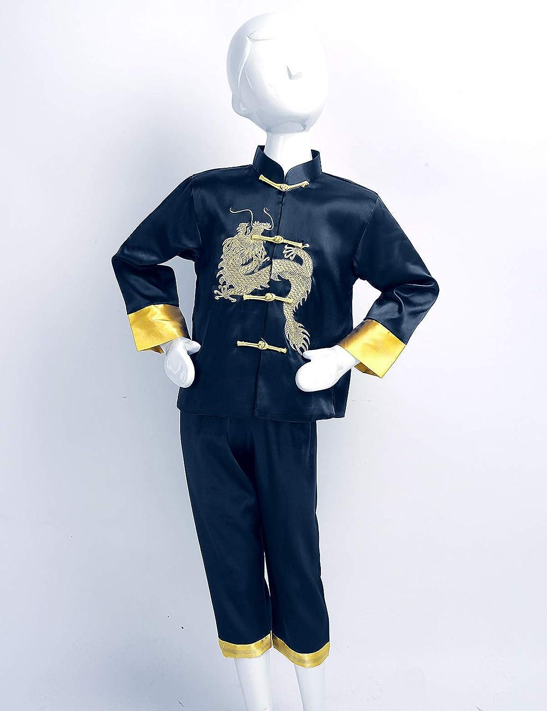 Pantalon Style Tang D/éguisement Traditionnel Chinois Mascarade Cosplay 1-12 Ans Freebily Enfants Gar/çon Costumes de Kung Fu Performance Satin Tops