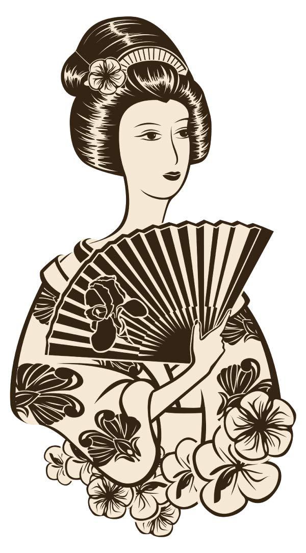 Wandtattoo Asien Geisha im nostalgischen Look Wandsticker Wanddeko Wohnzimmer