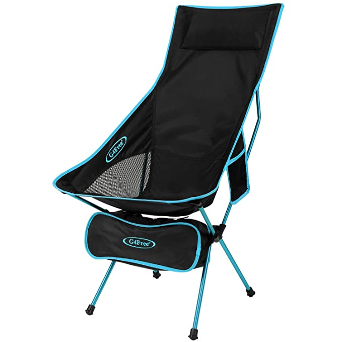 463d8d3da3 G4Free Upgraded Lightweight Portable Camping Chair Outdoor Folding  Backpacking High Back Camp Lounge Chairs with Headrest & Pocket for Sports  Picnic ...