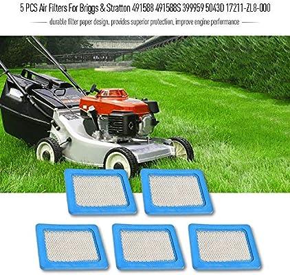 5 filtros de aire PCS para Briggs & Stratton 491588 491588S 399959 ...