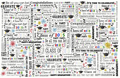 Graduation 2015 Paper Placemats - Red Blue Black Green Yellow Decorations for Open House or Party Supply-11x17-Made in USA-Set of 8