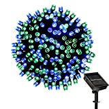 LOENDE Solar String Lights Outdoor 72ft 200LED Blue Green 8 Modes Decorative Lights Christmas Lights for Christmas Tree Patio Lawn Garden Party Wedding Decorations, 100% Waterproof, 2-Year Warranty