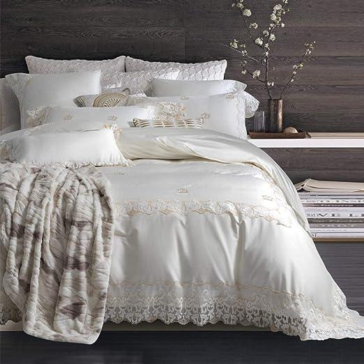 YIEBAI, Funda de edredón Juegos de sábanas bordadas de algodón egipcio 100S Funda nórdica de encaje verde Juego de sábanas Funda de almohada 4/6pcs, Color 1, King Size 6pcs: Amazon.es: Amazon.es