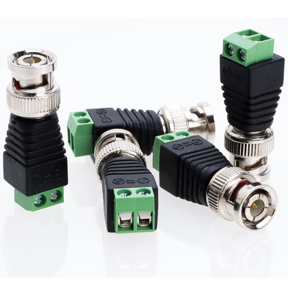 BNC Male Balun Connector for Coax CAT5 to CCTV Surveillance Video Camera - Choose a Pack of 10/20/30/50/100 Units (50)
