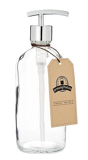 jarmazing productos claro tarro de cristal dispensador de jabón y loción con bomba cromado moderno - 16 oz: Amazon.es: Hogar