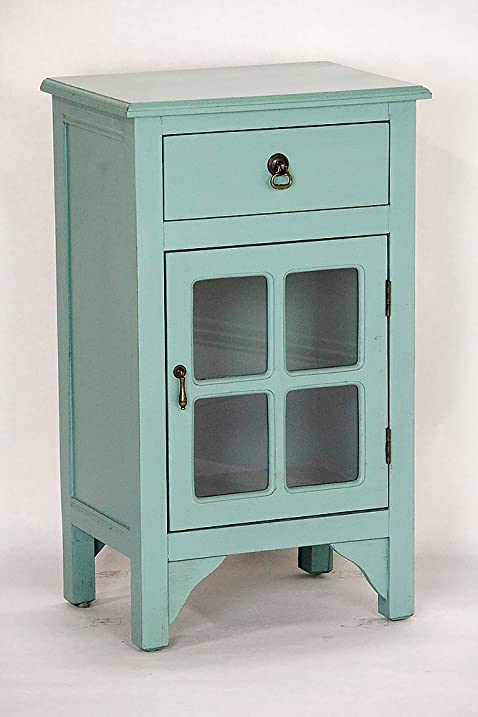 Heather Ann Creations Single Door/Drawer Wooden Cabinet With 4 Square Glass  Inserts, 30u0026quot