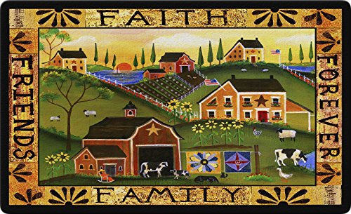 Toland Home Garden Americana Farm 18 x 30 Inch Decorative Country Scene Floor Mat Faith Family (Family Farm Quilts)