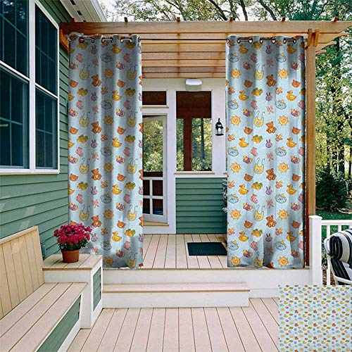 - leinuoyi Baby, Outdoor Curtain Kit, Newborn Sun Teddy Bear Ribbon Feeder Pacifier Chick Kitty Cat Design, Set for Patio Waterproof W72 x L96 Inch Pale Blue Cinnamon Apricot