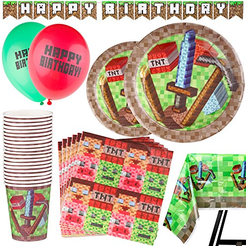 92 Piece Pixel Party Supplies Set Including Banner, Balloons, Plates, Cups, Napkins and Tablecloth, Mining Theme - Serves 20 by Scale Rank