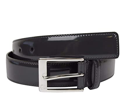b02de6730b5 Gucci Men's Square Dark Gray Patent Leather Belt with GG Detail Buckle  345658 1107 (90