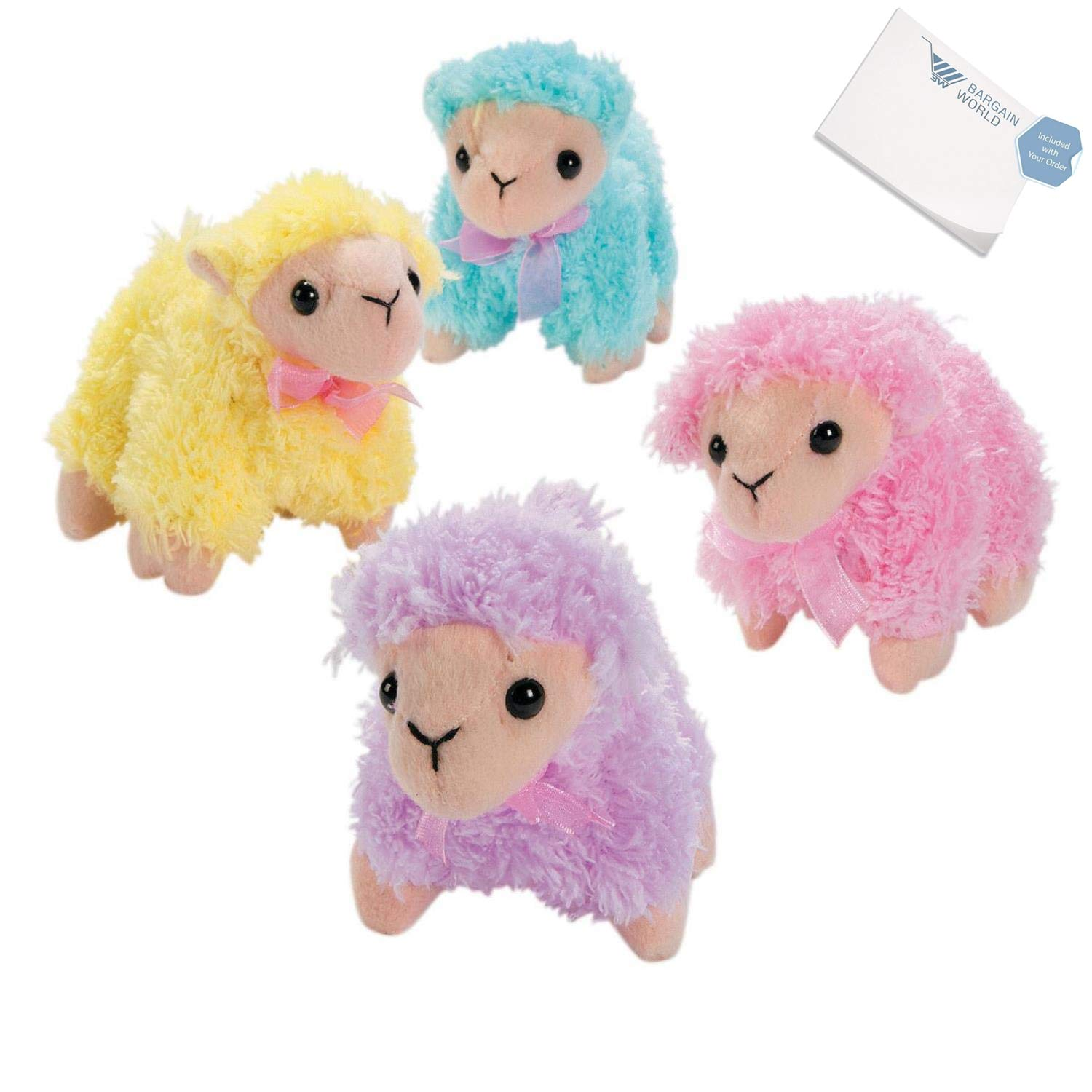 Bargain World Soft Pastel Stuffed Lambs (With Sticky Notes)