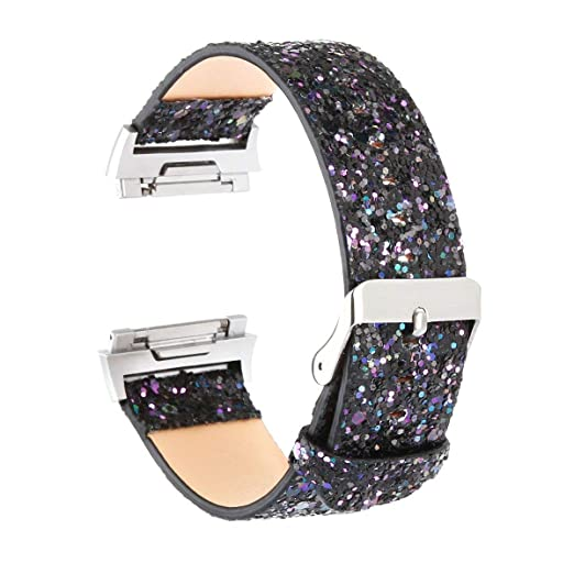 KuToo Replacement for Fitbit Ionic Bands, Leather Flash Glitter Bling Band  Wristband Strap Replacement Band for Fitbit Ionic Smart Watch Fitness