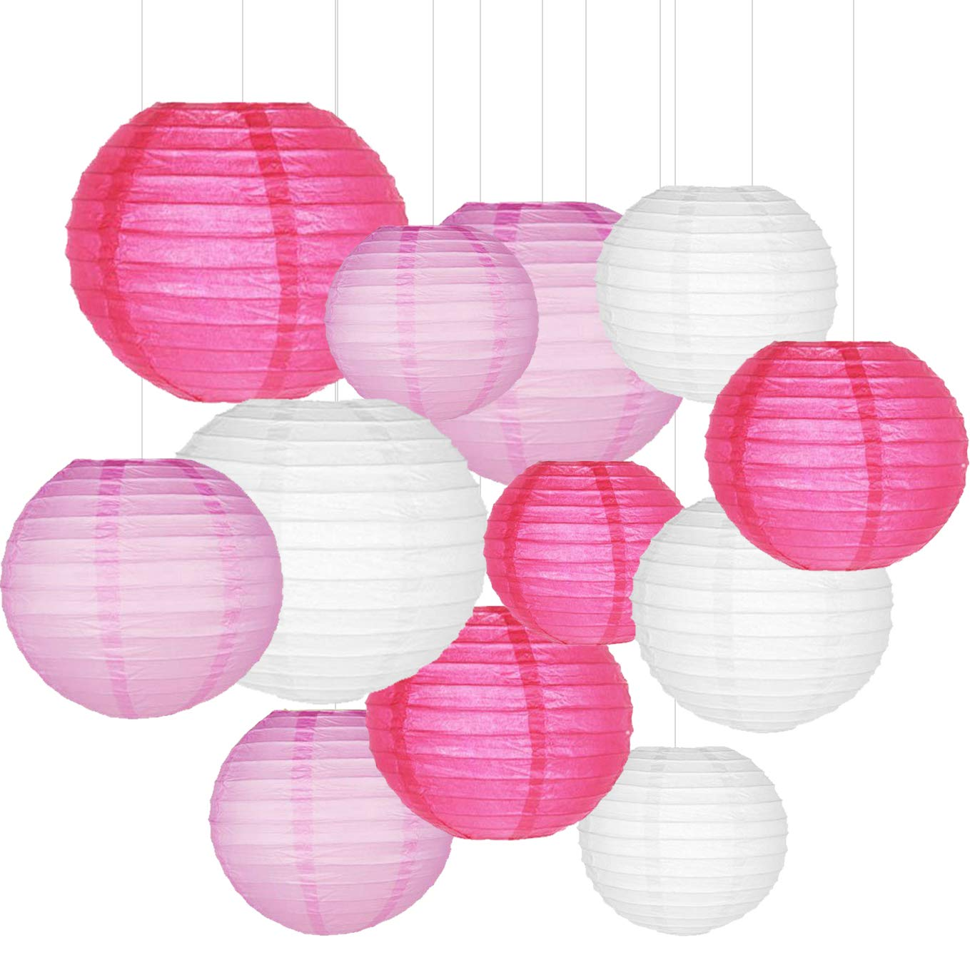 Sonnis Paper Lanterns 12'' 10'' 8'' 6'' Round lanterns for Birthday Wedding Baby Showers Party Decorations pink (12pack)