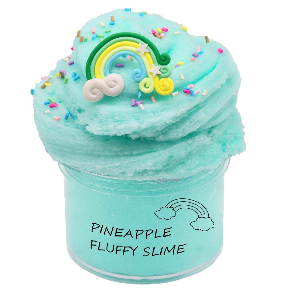 iWeller 2019Newest Green Rainbow Butter Fluffy Slime,Super Soft and Non-Sticky( 200ML 7oz)
