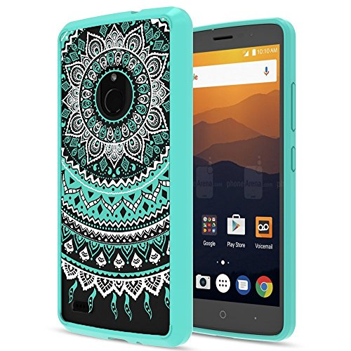 ZTE MAX XL Case, ZTE N9560 Case Clear with HD Screen Protector,AnoKe Mandala Colorful Folwer Cute Women Girls Anti-Slip Ultra Thin Slim Fit Cell Phone Cover Cases for ZTE N9560 - TM CH Mint