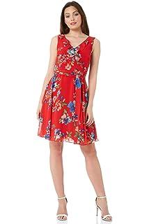 00764f3c8bc4 Roman Originals Women Floral Frill Wrap Dress - Ladies V-Neckline  Sleeveless Knee Length Vintage