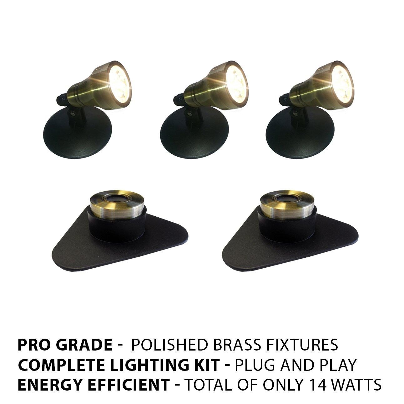 Patriot Brass LED Waterproof Pond and Landscape Lighting 14 Watt Light Kit P-C4