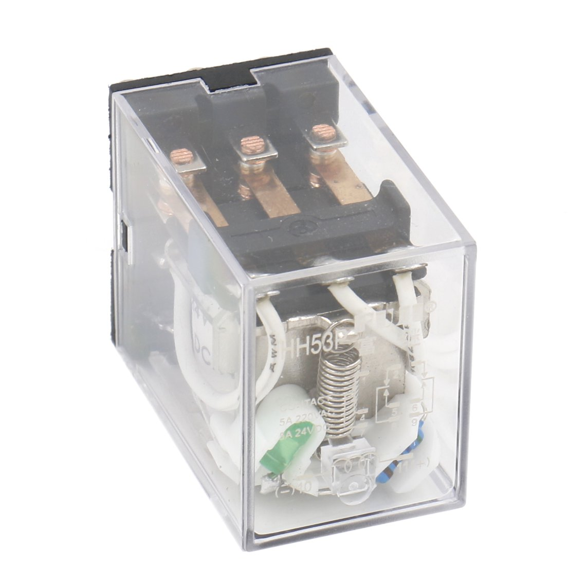 Heschen Gereral Purpose Power Relay HH53P-L 24VDC Coil 5A 220VAC/24VDC 3PDT 11 Pin Terminals LED Indicator