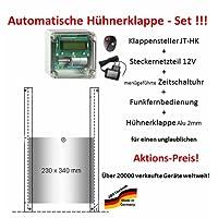 JOSTechnik Automatische Hühnerklappe JT-HK+Steckernetzteil+Zeitschaltuhr+Funkfernbedienung+Klappe - Aktion vom Hersteller!