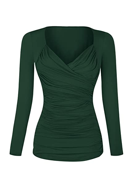 c79b26c1a11f51 ... Green Source · Simier Fariry Women s Long Sleeve V Neck Pleated Casual Wrap  Blouse