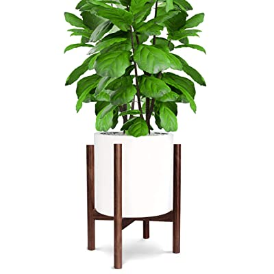 Honest Mid Century Modern Wood Indoor Plant Stand, (Plant and Pot NOT Included) Rustic Wood Flower Pot Holder, Dark Brown 10 Inch : Garden & Outdoor