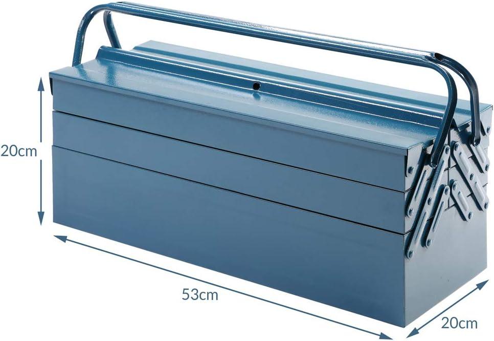Bo/îte coffre /à outils rangement pratique acier verrouillable bleu 53 x 20 x 20 cm