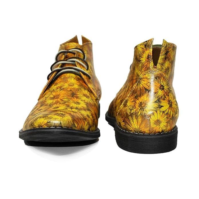 Modello Sunchukko - Cuero Italiano Hecho A Mano Hombre Piel Amarillo Chukka Botas Botines - Cuero Cuero Suave - Encaje: Amazon.es: Zapatos y complementos