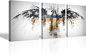 Mon Art US American Eagle Flag Canvas Print Stars and Stripes Wall Art Animal Picture Wall Decor Creation Wall Hanging Decoration for Living Room Bedroom Office Apartment Dorm Home Décor 12x16 in