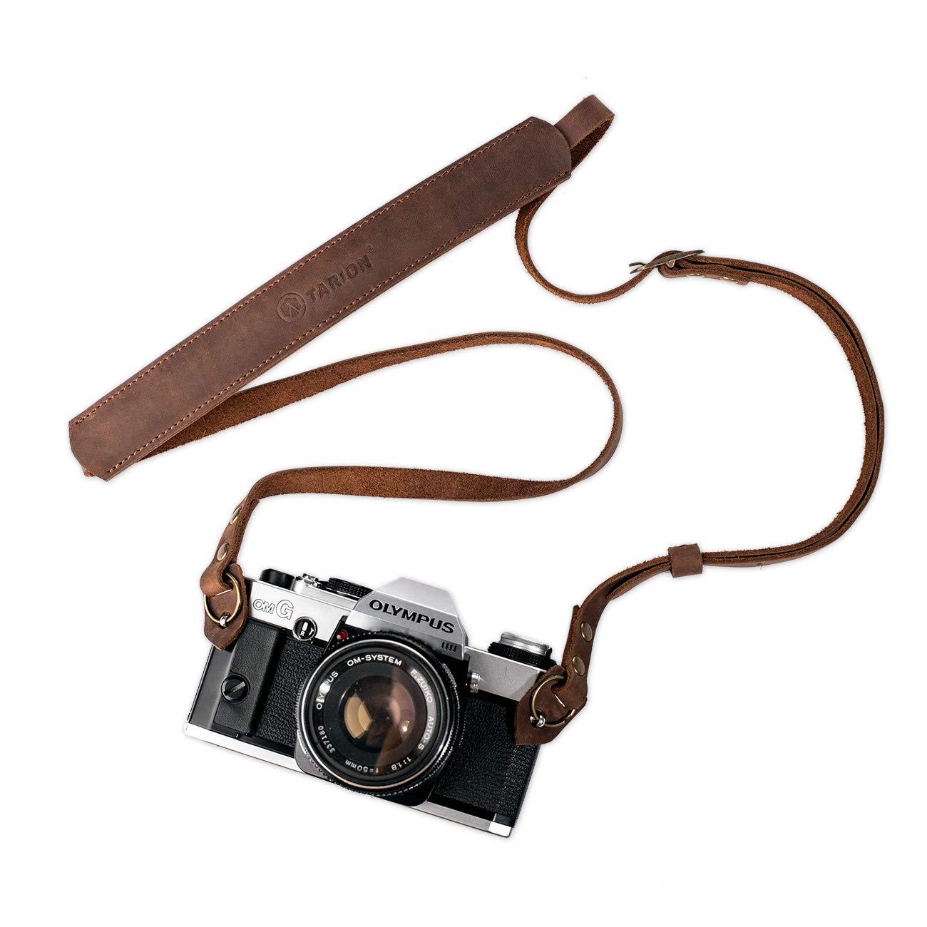 TARION TNS-L1 Leather Camera Shoulder Neck Strap for DSLR SLR Mirrorless Film Cameras Vintage DSLR Neck Strap Length Adjustable Camera Shoulder Strap