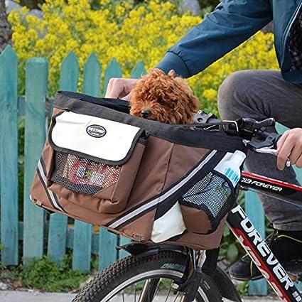 5573ac850b6a Hillwest Pet Bike Basket Bag Bicycle Front Carrier Pet Dog Bicycle Carrier  Bag Basket Puppy Dog Cat Travel Bike Carrier Seat Bag for Small Dog ...