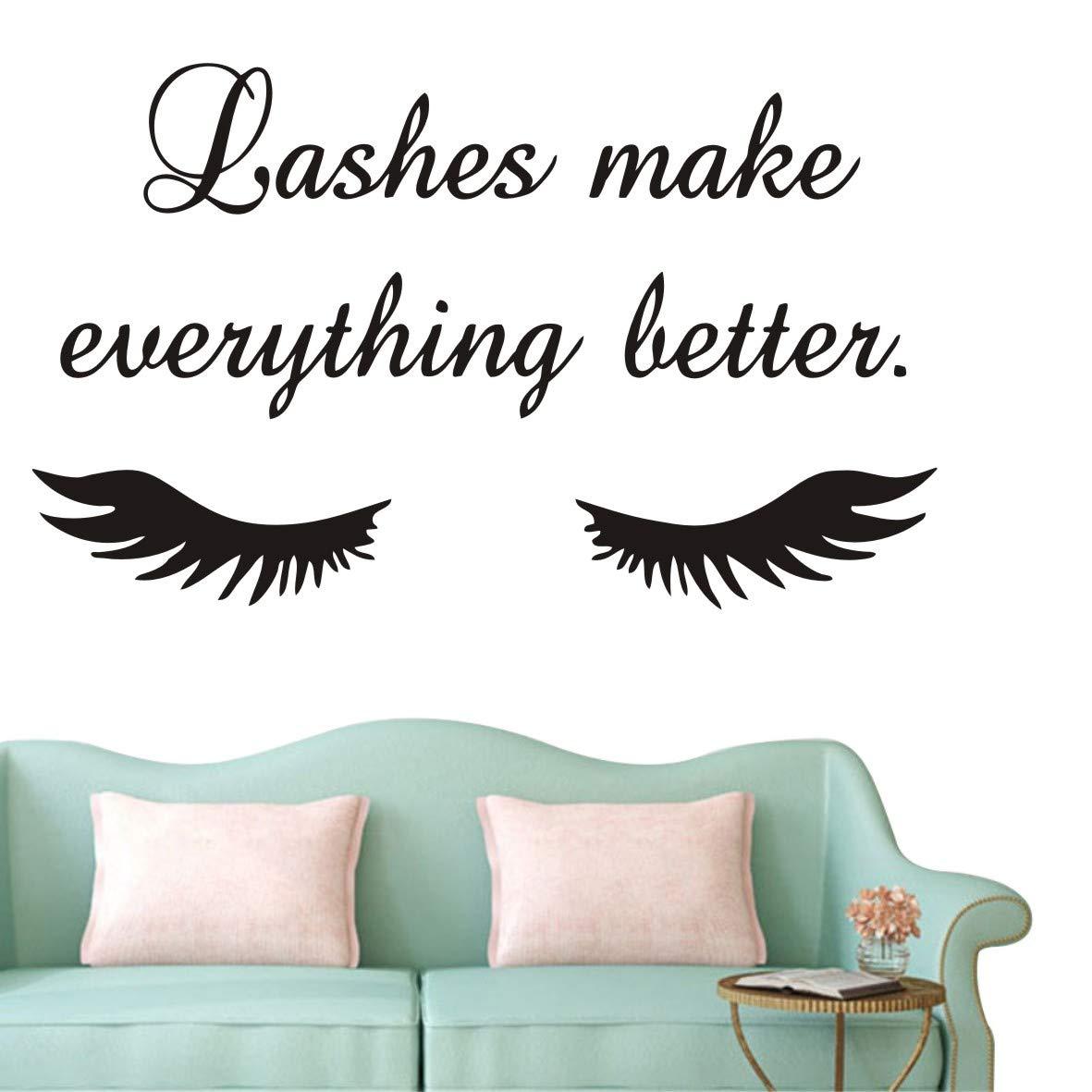 YOYOYU ART HOME DECOR Lashes Make Everything Better Quote Wall Decal Beauty Salon Eyelash Wall Decal Closed Eyelashes Quote Wall Window Decorative AY1078 (Black)