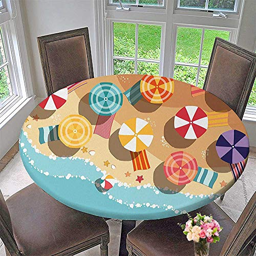 Round Tablecloths Seacoast with Colorful Umbrellas Stars Flat Design Aerial View Vacation Multicolor or Everyday Dinner, Parties 47.5