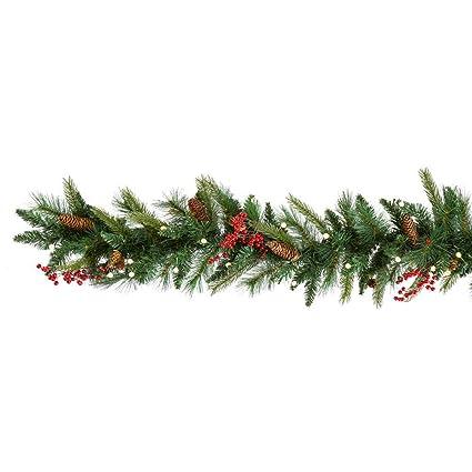 Amazon Com Cordless Pre Lit Cone Berry Christmas Garland Home