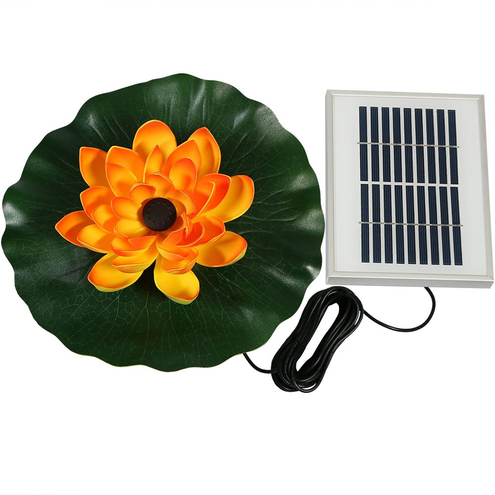 Sunnydaze Floating Lotus Flower Solar Power Pond Water Fountain Kit, 48 GPH, Orange