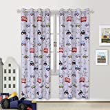 BGment Room Darkening Kids Curtains for Bedroom –Cartoon Car Printed Window Drapes, Metal Grommets Top, 52''Wx84''L Each Panel, 2 Panels