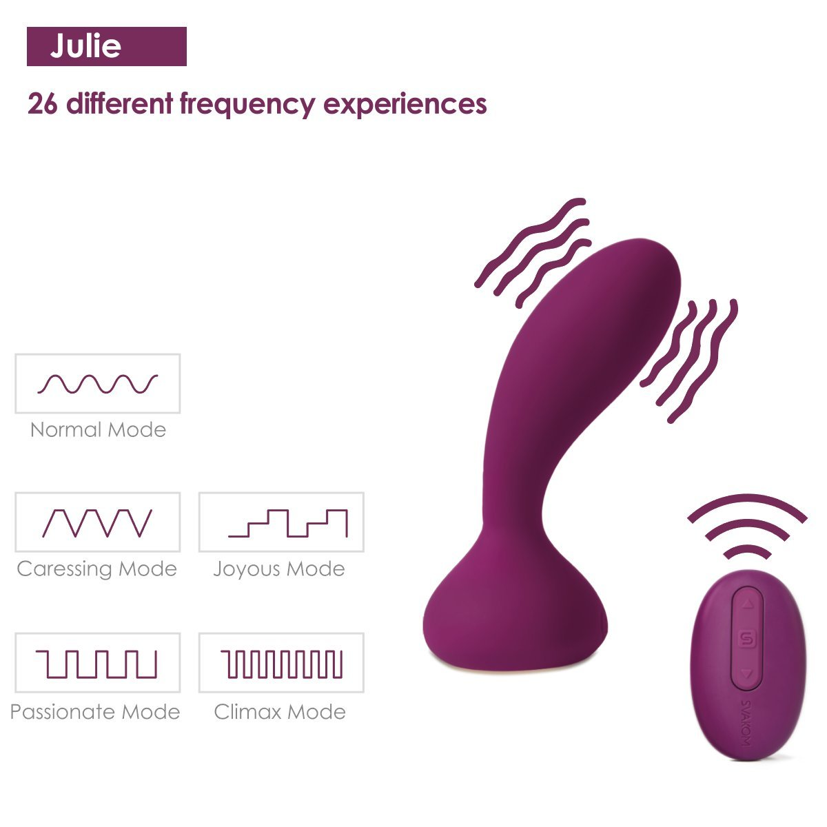 SVAKOM Julie Vibrating Anal Vibrator Prostate Massager with Wireless Remote Control Body Silicon Butt Plug for Male Orgasmo Waterproof Sex Toys for Couple for Woman (Violet)
