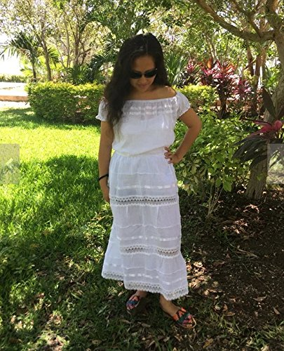 050c483e130c Amazon.com: Campesino white mexican dress with sleeves for 15-18 years old  woman: Handmade