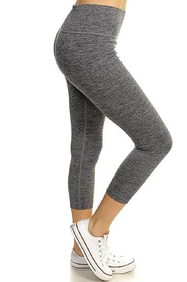 Active Seamless Capris Two Tone Textured Workout Pants (Black)